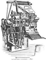 """Linptype, máquina utilizada para a impressão. Encontrava-se na indústria standard para jornais, revistas e posters do século 19 até aos anos 60/70 quando foi substituída pela litografia offset. Operava com textos num teclado constituído por 90 caracteres. Tinha matrizes de moldes de formas de letras. Permitia uma composição e """"typesetting"""" mais rápido e original"""