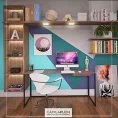 O home office deve ser um espaço que estimule o intelecto e a criatividade dentro de casa, auxiliando também na disciplina e na organização da rotina. Neste daqui, a parede tem uma pintura geométrica especial e tem um quadro aplicado, enquanto que há outro, com altura considerável, apoiado despretensiosamente no chão. Sugiro que você também brinque com volumes e cores no seu espaço de trabalho em casa!   #camilakleinarquiteta #homeoffice #escritorio #paixaopordecorar