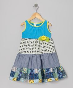 Take a look at this Blue Patchwork Tiered Dress - Toddler & Girls by Red Currant Kids on #zulily today!