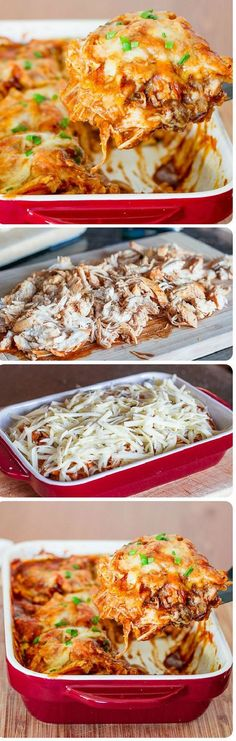 Easy Chicken Enchilada Casserole – 4 ingredients. Delicious hubs loved it. Added black beans with the chicken layer. I added some taco sauce on the top layer bc I was short on sauce. Only 2 chicken breasts! Filling. Perfect for square green casserole dish.