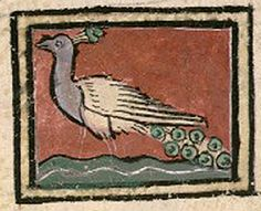 Medieval Bestiary : Peacock Gallery BN de France, lat. 14429, folio 108v. The peacock has a long green tail adorned with eyes.