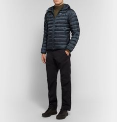 Arc'teryx Cerium Lt Slim-fit Quilted Ripstop Hooded Down Jacket In Storm Blue Trousers, Pants, Hoods, Slim, Mens Fashion, Fitness, T Shirt, Jackets, Shopping