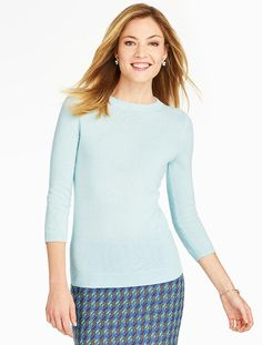 Cashmere Audrey Sweater; Blue Frost; January 4, 2016