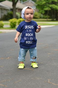 Jesus is my rock and that's how I roll | Hipster toddler shirts | MaeRyan & Co.