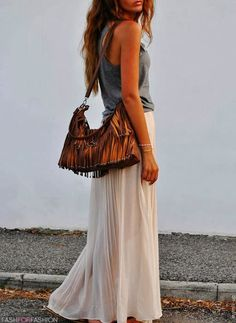 women, fashion, skirt, maxi, handbag. summer, clothing, outfit, top, white, gray
