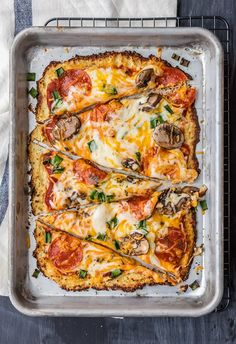 Pepperoni and Mushroom Cauliflower Pizza | The Cookie Rookie