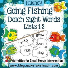 "Make practicing sight words fun with the Make, Take & Teach activity ""Fishing For Sight Words"".  This activity is perfect for small group instruction or for use in your literacy centers.  75 fish contain sight words from Lists 1-3 of the 220 Dolch Sight Words."