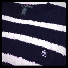 Ralph Lauren Cable Knit Stripped Sweater Cable knit pattern with navy and white stripes. Never worn, brand new! Perfect condition. Ralph Lauren Sweaters Crew & Scoop Necks