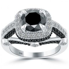 3.70 Carat Vintage Style Natural Black Diamond Engagement Ring 14k White Gold - Black Diamond Engagement Rings - Engagement