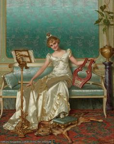 The Interlude. Vittorio Reggianini (Italian, 1858-1939). Oil on canvas.  Reggianini specialized in genre subjects including elegant scenes of bourgeois life. Many, like Interlude, showed subjects enjoying the arts. Reggianini combined fantasy with reality, sensuality with sensibility and above all, like many of the Florentine historical genre painters, he furnished his costume pieces in luxury.