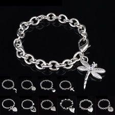 Bangle Chain Bracelet New Women Jewelry 925 Sterling Silver Crystal Cuff Charm