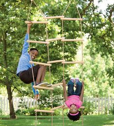 Diy Inspiration: Triple-Wide Climbing Ladder. Pretty sure some dowels, rope and a drill would do the trick