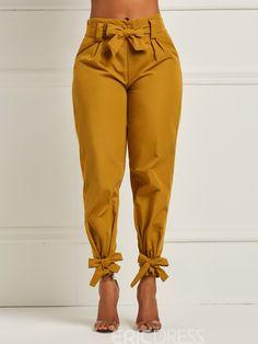 Model: Slim Length: Full Length Trousers Shape: Pencil Pants Elasticity: Stretchy Pattern: Plain Embellishment: Bowknot Style: Casual * Size Waist Hips Pant Length cm inch cm inch cm inch S / / 98 M / / 99 L / / 100 XL / / 101 9 Fashion Pants, Fashion Outfits, Womens Fashion, Cheap Fashion, Style Fashion, Game Mode, Looks Street Style, Pants For Women, Clothes For Women
