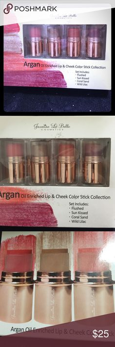 JLB Argan Oil Enriched Lip & Cheek Color Sticks Stay radiant all winter long with this JLB Argan Oil Enriched Lip & Cheek Color Stick Collection. Set includes 4 lip & cheek mini color sticks in Flushed, Sun kissed, Coral Sand and Wild lilac. You're gone love these and so will your lips and cheeks.  NWT, never used. Jasmine LaBelle Makeup Lipstick