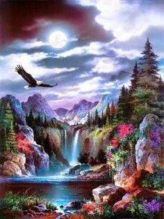 Luna con paisaje