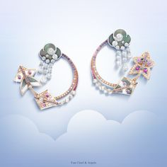 New Van Cleef & Arpels Cerfs-Volants™ collection Cerfs-Volants™ hoop earrings - pink gold, pink and mauve sapphires, white gold, white and grey mother-of-pearl and diamonds - #VCACerfsVolants