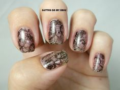 GLITTER ON MY NAILS: BLACK LACE, stamping plate by @bornprettystore