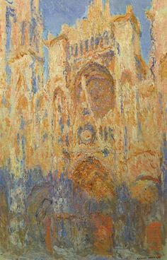 Impressionisme (impressie van de kathedraal in middaglicht). Kathedraal van Rouen door Monet. (Middag zon)