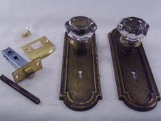Antique Brilliant 8 Pt Glass Door Knob Set Yale Towne Mortise Lock