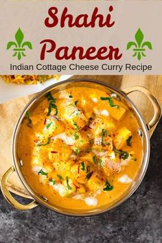 Easy Shahi Paneer recipe in just 25 minutes. Perfect for hosting dinner or parties.This exquisite Indian cottage cheese curry is fragrant and creamy. Pairs well with rice or naan. #IndianVegetarian #IndianFood #curry #paneer Indian Paneer Recipes, Paneer Curry Recipes, Indian Food Recipes, Easy Paneer Recipes, Indian Foods, African Recipes, Veg Recipes, Vegetarian Recipes, Cooking Recipes