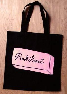 Black Pink Pearl Cotton Tote bag