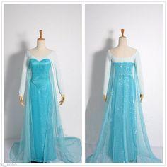 Disney Movies Frozen Queen Elsa  Cosplay Costume Dress
