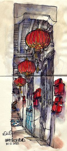 Red Lanterns at Bukit Pasoh Road Singapore by Don Low, via Flickr