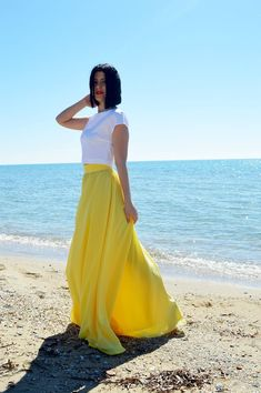 Yellow Chiffon Skirt, Woman Wedding Skirt, Maxi Skirt, Engagment Skirt, Bridesmaids Chiffon Skirt, Women Chiffon Skirt, Bridal Skirt Chiffon Yellow Maxi Skirts, Maxi Skirt Outfits, Summer Skirts, Maxi Dresses, Two Piece Wedding Dress, Wedding Skirt, Bridesmaid Skirts, Bridesmaids, Long Chiffon Skirt