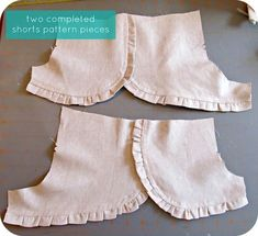 homemade by jill: ruffle shorts: a pattern hack Diy Shorts, Sewing Shorts, Ruffle Shorts, Sewing Clothes, Diy Clothes, Sewing For Kids, Baby Sewing, Sewing Diy, Sewing Ruffles