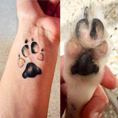 dog tattoo ideas These are the top 20 most heart-warming dog paw tattoos that owners got on the different parts of their body to make their friend unforgettable. Hand Tattoos, Cat Paw Tattoos, Animal Tattoos, Body Art Tattoos, Tatoos, Wrist Tattoo, Tattoo Perro, Tatoo Dog, Cat Paw Print Tattoo