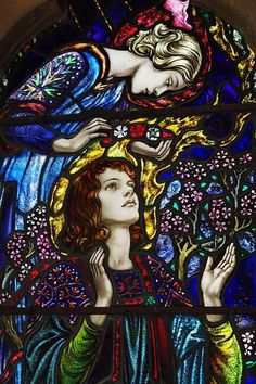 One of several Pre-Raphaelite stained glass windows, for which Waterford church is famed, by William Morris in St Michael and All Angels Church in Waterford, near Hertford. Here: an angel bends over St Cecilia Stained Glass Church, Stained Glass Angel, Stained Glass Paint, Stained Glass Projects, Stained Glass Windows, Window Glass, Medieval Stained Glass, Religion, Church Windows