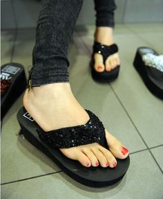Black Sequin Wedge Flip Flop from chicnova.com