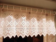 Crochet curtain for kitchen window
