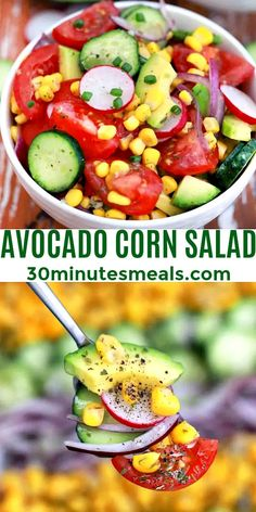 Avocado Corn Salad is healthy, light, and has a nice creaminess thanks to the avocado. #salad #saladrecipe #avocadosalad #cornsalad #30inutesmeals