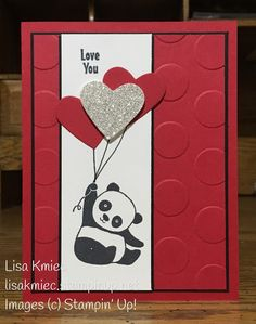 Stampin' with Lisa: I Love You Party Panda Valentine! Stampin' Up! Stampin Up Karten, Karten Diy, Valentines Day Cards Handmade, Valentines For Kids, Love Cards Handmade, Valentine's Cards For Kids, Stamping Up Cards, Drops Design, Creative Cards
