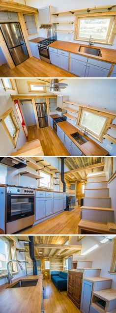 Dennis' tiny house kitchen includes a large bamboo countertop with end grain edges, a full range and refrigerator, and abundant cabinets and shelves.