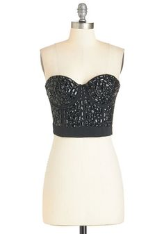 Jewel Love This Bustier Top. This fabulous black bustier was made for a gem like you! #gold #prom #modcloth