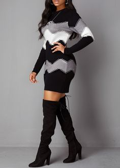 Dresses For Women Sweater Dress Outfit, Casual Dress Outfits, Long Sleeve Sweater Dress, Belted Shirt Dress, Latest African Fashion Dresses, Latest Dress, Legging Outfits, Patchwork Dress, Dress With Boots