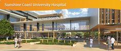 Sunshine Coast University Hospital's front entrance to the major healthcare services.