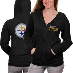 #Fanatics Pittsburgh Steelers Womens Game Day Full Zip Hoodie - Black