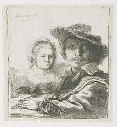 Rembrandt  Selbstportrait 1636 mit Saskia 2a hr - Houston MFA