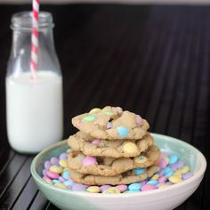 easter chocolate chip(m&m) cookies