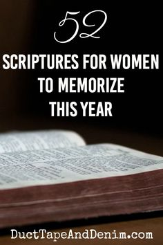 I'm working hard on my Scripture memory skills. Here's my list of 52 Bible verses for women to memorize. It's going to take me longer than a year but I'm not giving up! Join me in learning to memorize Scriptures. Bible Verse Memorization, Bible Verses Quotes, New Quotes, Encouragement Quotes, Bible Scriptures, Random Bible Verse, Scripture To Memorize, New Year Bible Verse, Funny Quotes