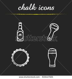 Beer chalk icons set. Beer bottle, opener, cap and full foamy glass. Isolated vector chalkboard illustrations