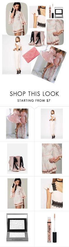 """Pink lace"" by rou26 ❤ liked on Polyvore featuring Miss Selfridge, JustFab, Burberry and NYX"