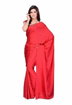 Fabdeal Indian Women Sari Designer Wear Plain Red Fabdeal,http://www.amazon.com/dp/B00J4MDXIG/ref=cm_sw_r_pi_dp_su2ttb140SYV991D
