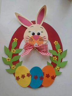 Fun easter crafts for kids Easter Art, Easter Crafts For Kids, Easter Activities, Preschool Crafts, Diy And Crafts, Paper Crafts, Diy Ostern, Bunny Crafts, Easter Wreaths