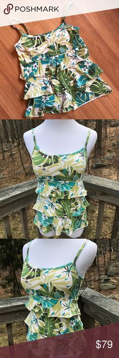 Ann Taylor LOFT tiered tank top Tropical print camisole with tiered ruffles and shelf bra • 95% cotton 5% spandex • 💖Bundle and Save 💖 ✨All Offers Considered✨ LOFT Tops Tank Tops