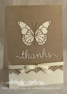 """handmade thank you card from Simply One Of A Kind: Earth Tones . luv the use of the negative space butterfuly leaving in the """"stained glass"""" lines . milk chocolate and vanilla . Handmade Thank You Cards, Handmade Greetings, Greeting Cards Handmade, Paper Cards, Diy Cards, Memory Box Cards, Butterfly Cards, Card Making Inspiration, Copics"""
