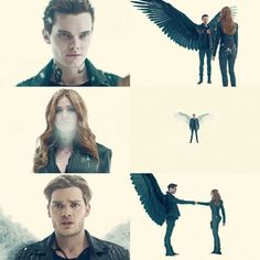Look at this amazing scene. Kat, Dom, and Luke are gorgeous! We have a demon, an angel, and Clary is both but is leaning more towards the demon side. Jonathan's and Jace's wings are just . Harry Potter, Series Movies, Tv Series, Agatha Christie, Clary Y Jace, Shadowhunters Season 3, Isabelle Lightwood, Bonnie Bennett, Shadowhunters The Mortal Instruments
